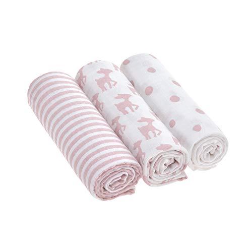LÄSSIG Baby Spucktuch Pucktuch Mullwindeln Musselintuch 3er Set Baumwolle 85 x 85 cm/Swaddle & Burp Blanket L/ Lela Girls