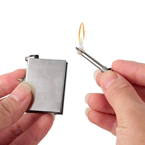 Pamura - Ewiges Streichholz - Outdoor Streichholz - Feuerzeug Schlüsselanhänger - Streichholz Feuerzeug - Survival - Camping - Wiederbefüllbar - Wasserfest