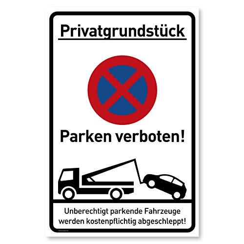 Privatparkplatz Schild Parken Verboten (20x30 cm Kunststoff) - Hochkant - Fahrzeuge Werden kostenpflichtig abgeschleppt - Klares Zeichen für Parkverbot - Parkplatz Schilder Privatgrundstück