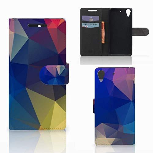 B2Ctelecom Hülle für HTC Desire 628 Tasche Polygon Dunkel
