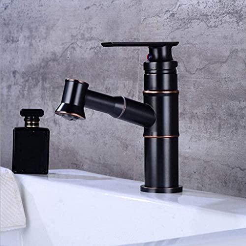 Grifos de fregadero de cocina Grifo de fregadero de cocina de latón con rociador extraíble Grifo mezclador de fregadero de rotación de 360 grados Monomando de un solo orificio Negro(Color:Bajo)