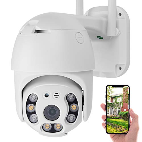 Security Camera Outdoor, PTZ Camera Outdoor, 1080P Pan Tilt Zoom 4X WiFi Camera,CCTV IP CCTV Waterproof Dome Camera with Two Way Audio Color Night Vision Motion Detective Cameras Dome