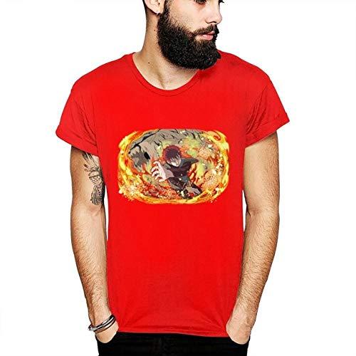TSHIMEN Camisetas Hombre Inside Naruto Anime Camiseta Personalizada gráfico impresión Homme Camiseta Unisex Hombre 3D impresión Camiseta roja XXL