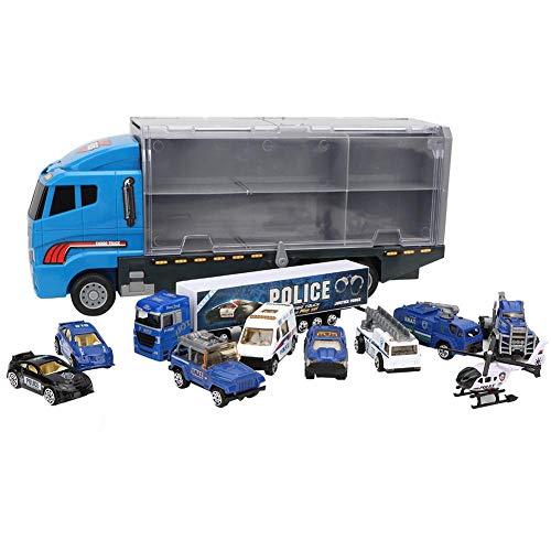 Zerodis 10 in 1 Polizei Auto Transport LKW Simulations Spielzeugauto Anzeigen Minidruckguss Plastikspiel Fahrzeug in der Fördermaschine Kinder