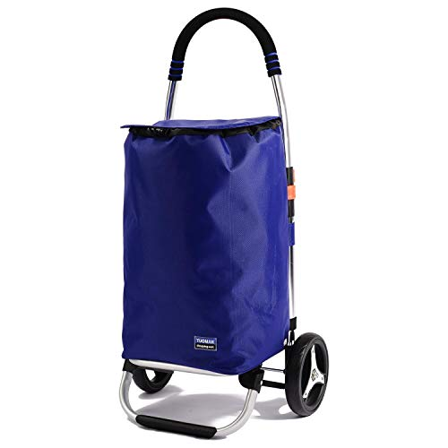 Shopping Trolley, TUOMAN Folding Shopping Carts Rolling Grocery Cart with Wheels for Laundries,...