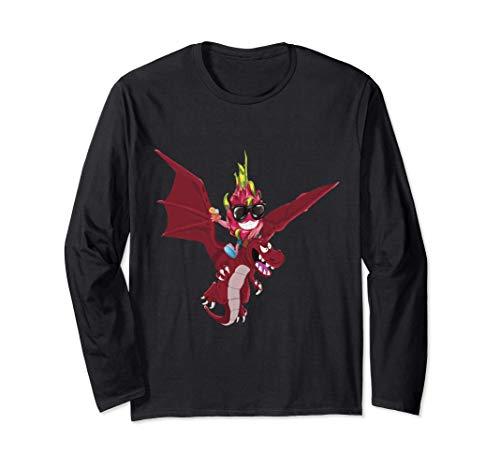 面白い食べ物ドラゴンフルーツ乗馬火を吐くドラゴン 長袖Tシャツ