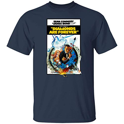 kanyeah Diamond Are Forever, James Bond, 007, Sean Connery, Dr. No, Goldfinger Men's T-Shirt,Navy,3XL