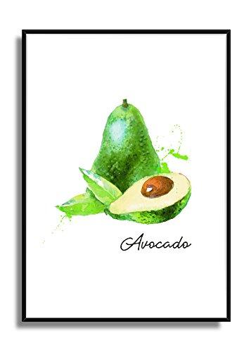 Wandbild Kunstdruck Poster AVOCADO im A4 Format, moderne Bild Deko für die Küche