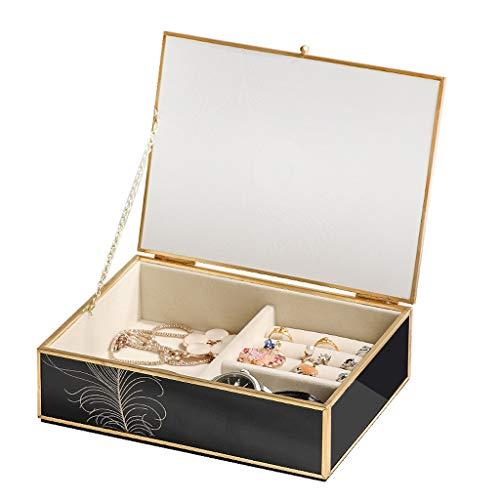 HBR Caja de joyería Caja de joyería de Cristal de Lujo Ligero para Mujeres Organizador Creativo Joyería de joyería Exquisita joyería de BR (Color : Black)
