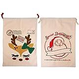 HEALLILY Weihnachtsmann-Sack aus Segeltuch mit Kordelzug, große Geschenktüten aus Segeltuch, Geschenkbeutel, Weihnachtsstrumpffüller, Urlaubsparty-Dekoration, 2 Stück