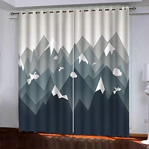Rideau Opaque Thermique Isolant Taille totale:264 cm x 242 cm (104 pouces de large x 95,3 pouces de haut)oiseau forestier abstrait avec œillets, pour Le Salon et la Chambre Intérieur Enfant Moderne Cu
