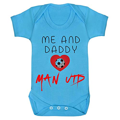 Me and Daddy Love Man Utd - Baby Bodys/Strampler 100% Baumwolle 6-12 Months Turquoise