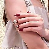 24 Unids/set Cadena de Circón Rojo deColor PuroUñas Artificiales Encantadoras Puntas Ovaladas de Cristal Grandes Presione en uñas cortas falsas con