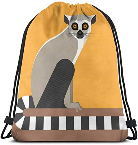 Elsaone Lemur Minimalist Drawstring Rucksack String Bag Sackpack Sport Athletic Gym Sack Männer Frauen Kinder 36 x 43 cm / 14 x 17 Zoll