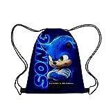 LINGJIA Mercancía sónica 45 * 35cm Acción Juguete Figuras Sonic Cartoon Cordón Bolsa De Impresión Mochila Casual Boy Girls Knapsack Sonic The Hedgehog Cordstring Bag