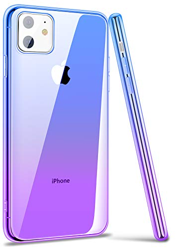 ANSIWEE iPhone 11 6.1 Inch Case, Thin Colorful Clear Shell Super Slim Case Translucent Impact Resistant Flexible TPU Bumper Protective Case for Apple iPhone 11 (Blue Purple)