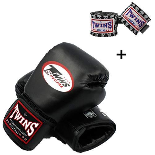 WOLIGEQ Guantes de Boxeo 8-14 oz Twins Kick Boxing Gloves & Twins Hand Wraps Vendaje Hombres Niños Cuero de PUGuantes de EntrenamientoMuay ThaiMMA, Negro