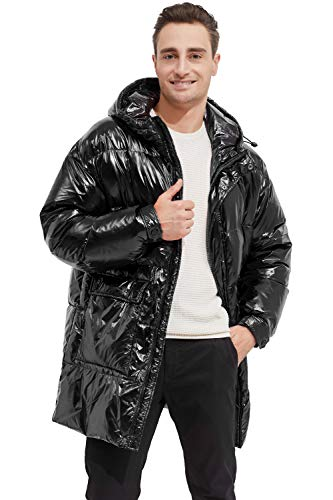 Orolay Shiny Down Jacket Men Winter Coat Stand Collar Puffer Jacket with Hood Jet Black XL