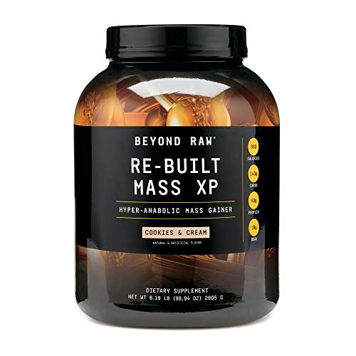 BEYOND RAW Re-Built Mass XP | Hyper-Anabolic Mass Gainer, Contains 880 Calories, 140g Carbohydrates, and 60g Protein Per Serving | Cookies and Cream | 6 Lbs.