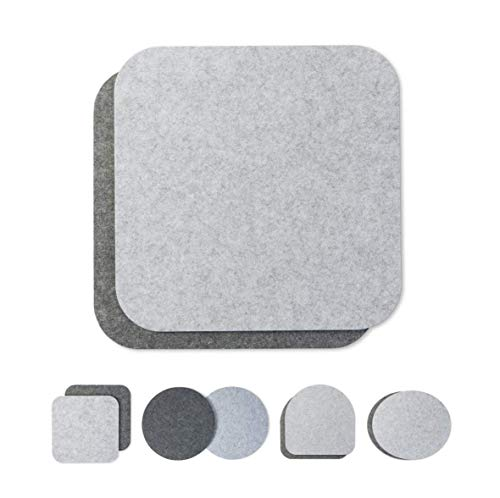 Seat Cushion Pad Two-Coloured Round Set of 2 (Choice of Colours) for Chairs, Benches, Stool Round Felt Chair Cushion Diameter 34 cm, Light Grey-Grey, Square