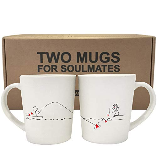 BOLDLOFT Catch My Heart His and Hers Coffee Mugs-Long Distance Relationships Gifts for Him for Her,Long Distance Coffee Mugs,Long Distance Couples Gifts,Girlfriend Boyfriend Gifts