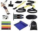 AIH Profit TRX Fitness - Entrenamiento en suspensión - Set/Kit de Gimnasio, Deporte y Ejercicio en Casa -5 Gomas Elásticas Fitness -Toalla Microfibras - Muñequeras Crossfit - Core Sliders