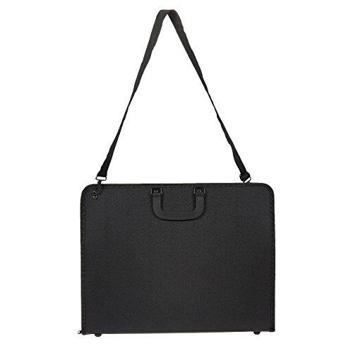 Juvale Art Portfolio Case - Artist Portfolios Case - Artist Carrying Case with Shoulder Strap, Black, 19 x 14.7 x 1.5 Inches