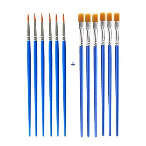 YUTRD ZCJUX 12pcs Nylon Cheveux Brosse Pinceau Enfants Bricolage Art Fournitures Outils Aquarelle Artiste Peinture Pinceau Art Papeterie (Color : Mix Set)