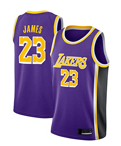 HS-XP Männer Basketball-Trikot - Stadtausgabe NBA Los Angeles Lakers # 23 Lebron James Basketball Classic Sleeveless Jersey T-Shirt,Lila,S(165~170cm)