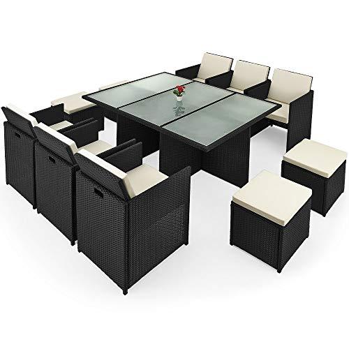 Deuba Poly Rattan Sitzgarnitur Cube 6 Stühle 4 Hocker 7cm Dicke Auflagen Tisch 10 Personen Sitzgruppe Gartenmöbel Set