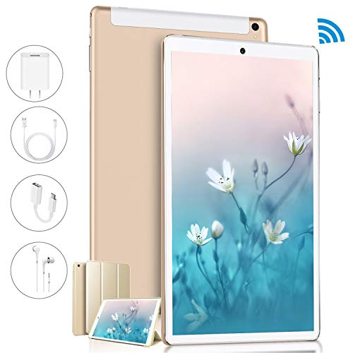 Tablet 10 Pulgadas FullHD 3 GB RAM 32 GB ROM, Android 9.0 Pie Tableta 8+5MP Cámara 8500mAh Tres Ranuras para Tarjetas (2 SIM+1SD) Tablets PC 4G WiFi Bluetooth OTG FM Radio GPS