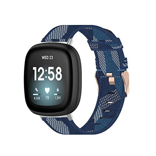 Tencloud Correa compatible con Fitbit Versa 3 & Sense, correa ligera de tela de nailon a rayas, banda de repuesto para reloj inteligente Fitbit Sense/Versa 3 (azul)