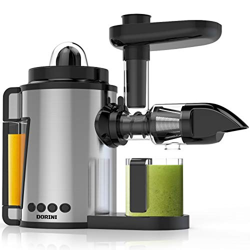 DORINI 2in1 Masticating Juicer & Citrus Juicer | Slow Juicer | Cold Press Juicer with Brush | Juicer Machine Extractor Easy to Clean | BPA-FREE | Quiet Motor & Reverse Function