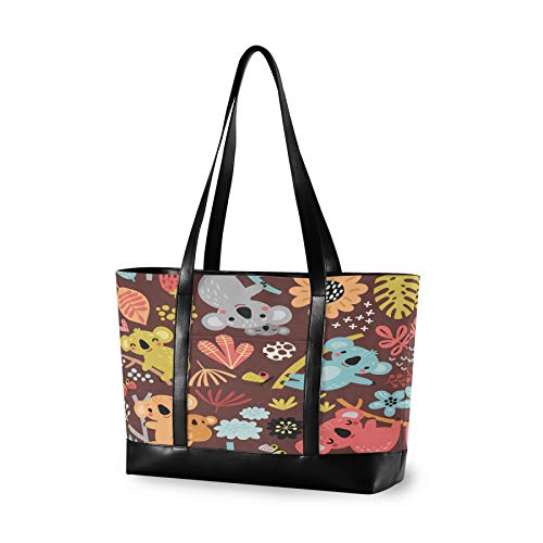 Laptop Tote Bag with Cute Koala Seamless Pattern Elements Fits 15.6-17 Inch Laptop, Women's Lightweight Tote Bag Shoulder Bag Messenger Bag