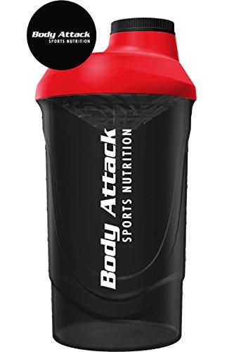 Body Attack Protein Shaker mit Sieb, Black-Red, 600ml, Fitness-Becher BPA frei, auslaufsicher und spülmaschinenfest für cremige Shakes