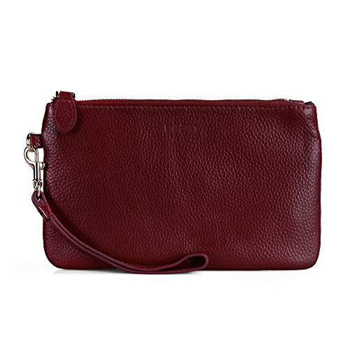 Befen Women Genuine Leather Cell Phone Clutch Wallet Case, Smartphone Wristlet Purse - Fit iPhone 8 Plus (Red)