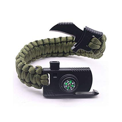 ZIGLY Paracord Bracelet with Flint, Whistle and Compass