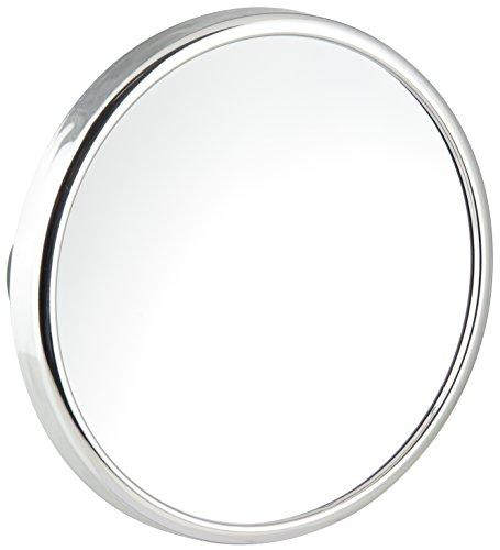 Fackelmann Kosmetikspiegel TECNO, Vergrößerungsspiegel mit 10-fach Vergrößerung, Schminkspiegel mit Saugnäpfen (Farbe: Silber), Menge: 1 Stück