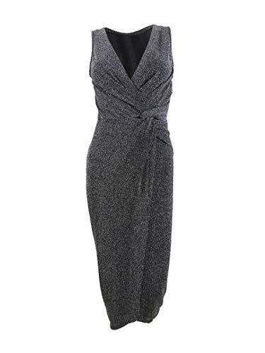 BCX Silver Small Junior Sheath Dress Shimmer Faux Wrap Black S