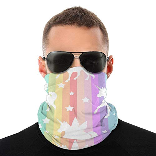 BDGAjdka Cute White Unicorns Silhouette Face Face Scarf Seamless Bandanas Multifunctional Headwear For Men Women