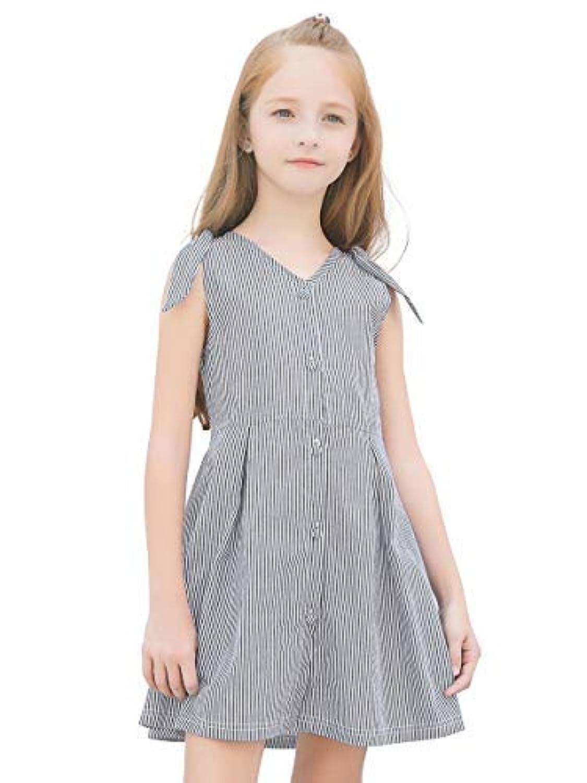 junliuTT ビーチ ドレス ブラック 白 ストラップ ラブリー 子供たち オフショルダー 女の子 ドレス カジュアル5-6歳/ 120cm CDS8012