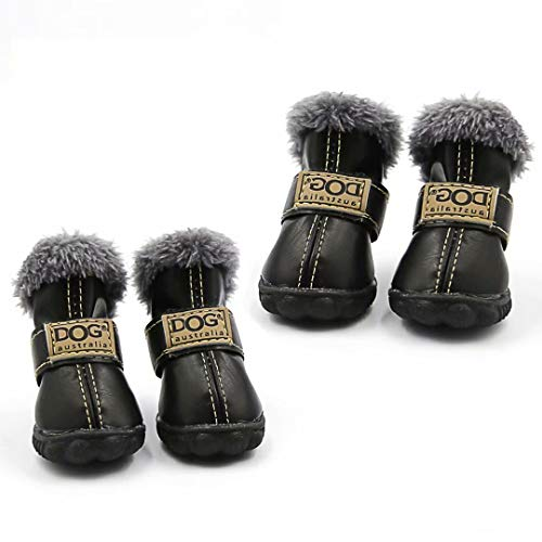 Qiao Niuniu Dog Shoes Warm Boots Winter Waterproof Skidproof Leather Puppy Paw Protectors Booties for Snow/Ice Pavement (Color Black,Size: XS)