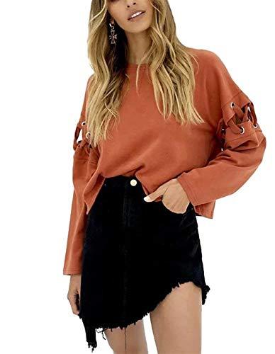 Damen Langarm Stitching Hoodies Pullover Rundhalsausschnitt Kurz Sweatshirt Perfect Tops Casual Lose Orange T Shirts Herbest Style (Color : Orange, Size : L)