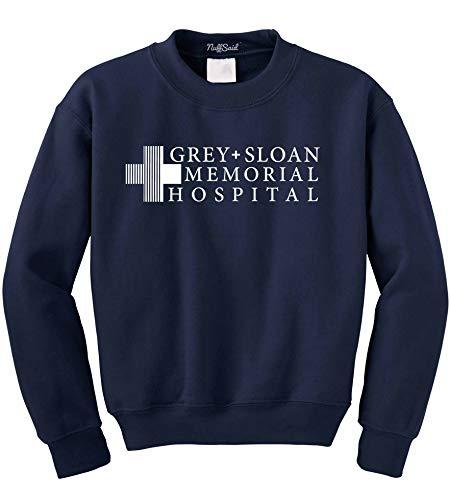 Grey Sloan Memorial Hospital Sweatshirt Sweater Crew Neck Pullover - Premium Quality (Medium, Navy Blue)