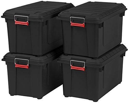 IRIS USA 82 Quart Weathertight Storage Box, Store-It-All Utility Tote, 4 Pack, Black