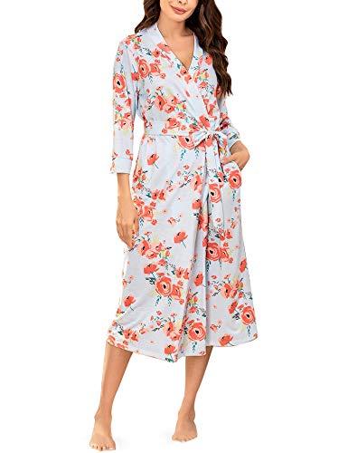 Unibelle Morgenmantel Damen Leicht Damen Kimono Sauna Bademantel Baumwolle Lang Hausmantel Pyjama Nachthemd Mittel Navyblau XL