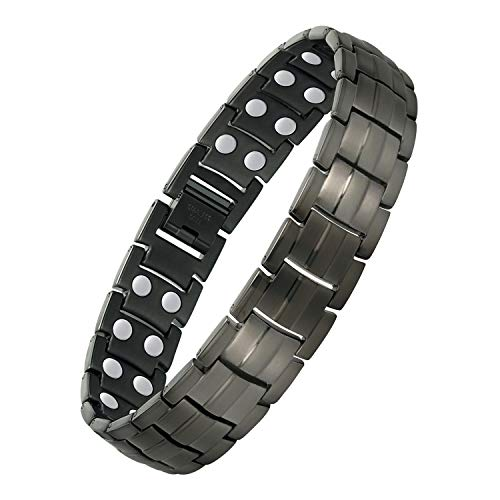 Jecanori Magnetic Bracelet for Men Arthritis & Carpal Tunnel Syndrome Pain Relief Stainless Steel Ultra Strength Double Row 3500 Gauss Magnets,Titanium Steel Therapy Bracelet Gray