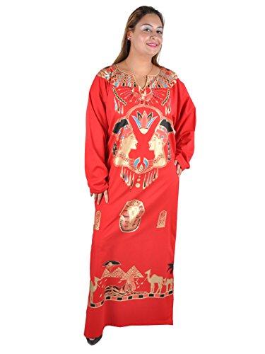 Kleopatra Pharao Kostüm, Fasching Fastnacht Karneval Kleider aus dem Orient Ägypterin, rot (48-50 (XL))