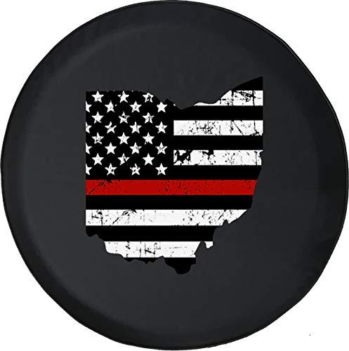 Hokdny Cubiertas De Neumáticos para Rueda De Repuesto Bandera Americana Apenada De La Delgada Línea Roja De Ohio A Prueba De Polvo, Impermeable, Protección Solar Y Protección contra La Corrosión.