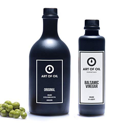 Essig Öl Set | Tolles 500ml Bio Olivenöl und 200ml Balsamico Essig im Eichenfass gereift | Ideal als Feinschmecker Geschenkset